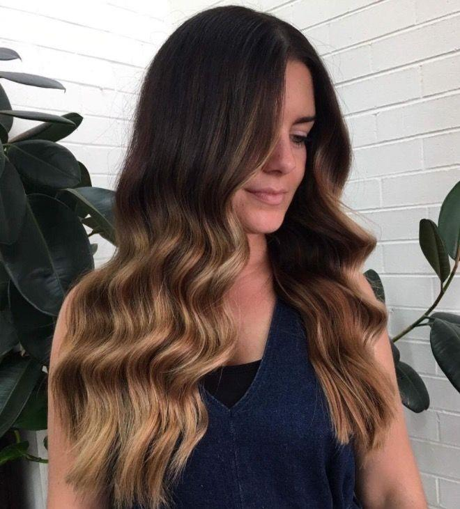 """**Ombre Hair: Caramel dip dye** <br><br> Give chocolate-brown stands a summery upgrade by adding caramel balayage through the ends. The result? A dreamy ombre finish. <br><br> (via [@thefoxandthehair](https://www.instagram.com/thefoxandthehair/?hl=en