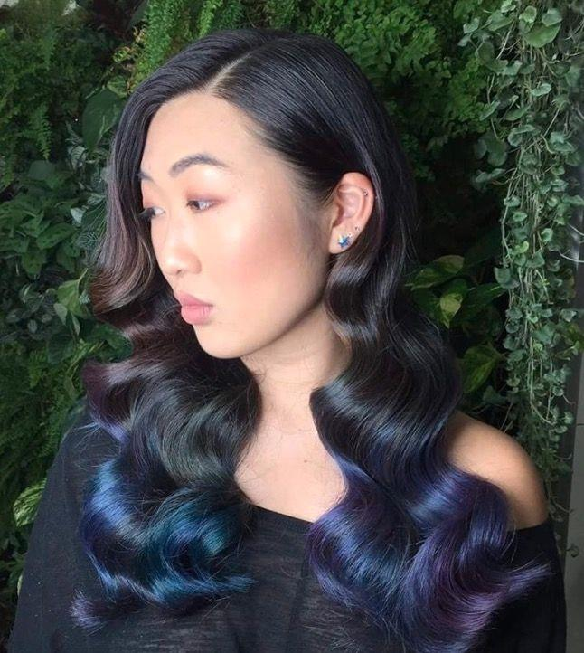 """**Ombre Hair: Mermaid blue** <br><br> We're seriously feelin' these inky mermaid hair hues. Who says brunettes can't get colourful? <br><br> (via [@thefoxandthehair](https://www.instagram.com/thefoxandthehair/?hl=en