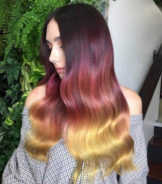 """**Ombre Hair: Sunset dip-dye** <br><br> Sunset hair here, and it's cute AF. Red, burgundy and gold blend into one to create the ultimate ombre. <br><br> (via [@thefoxandthehair](https://www.instagram.com/thefoxandthehair/?hl=en