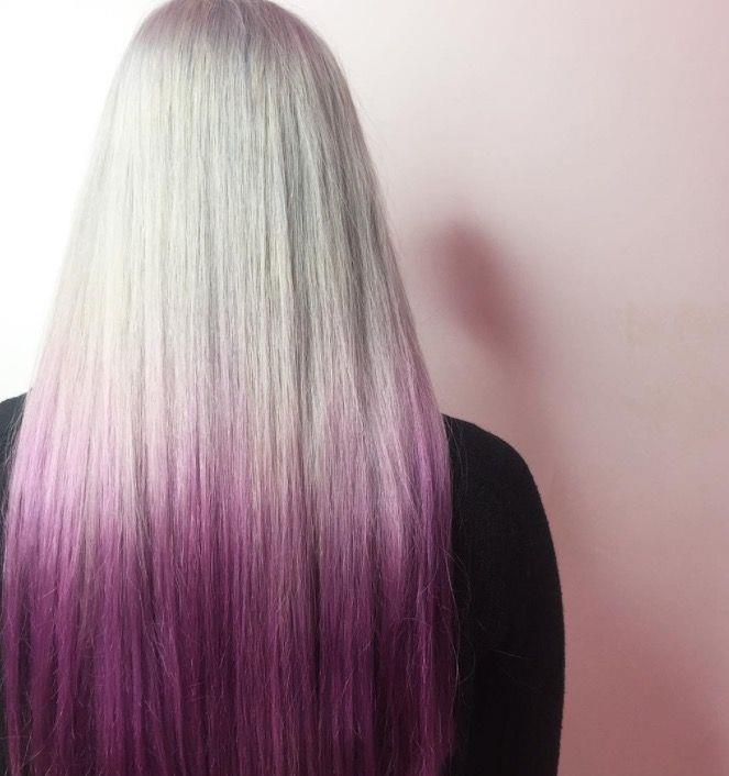 """**Ombre Hair: Silver purple strands** <br><br> This ice-white mane has been dipped in a bold purple to create the edgiest ombre, ever. <br><br> (via [@bleachlondon](https://www.instagram.com/bleachlondon/?hl=en