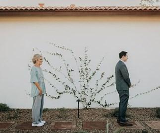 first look wedding photo prank