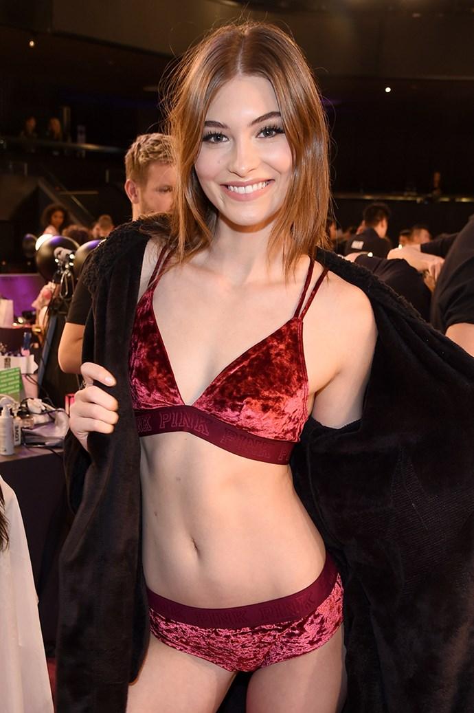 Grace Elizabeth backstage at the 2017 Victoria's Secret Fashion Show.