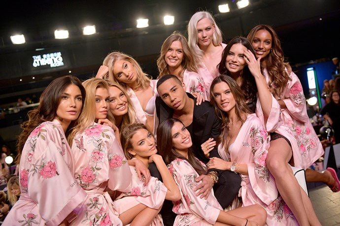 Models with Balmain designer Olivier Rousteing backstage at the 2017 Victoria's Secret Fashion Show.
