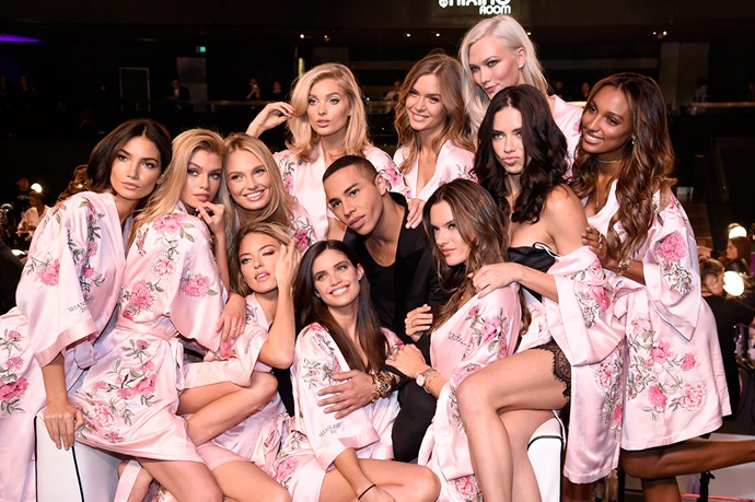 Models backstage at the 2017 Victoria's Secret Fashion Show.