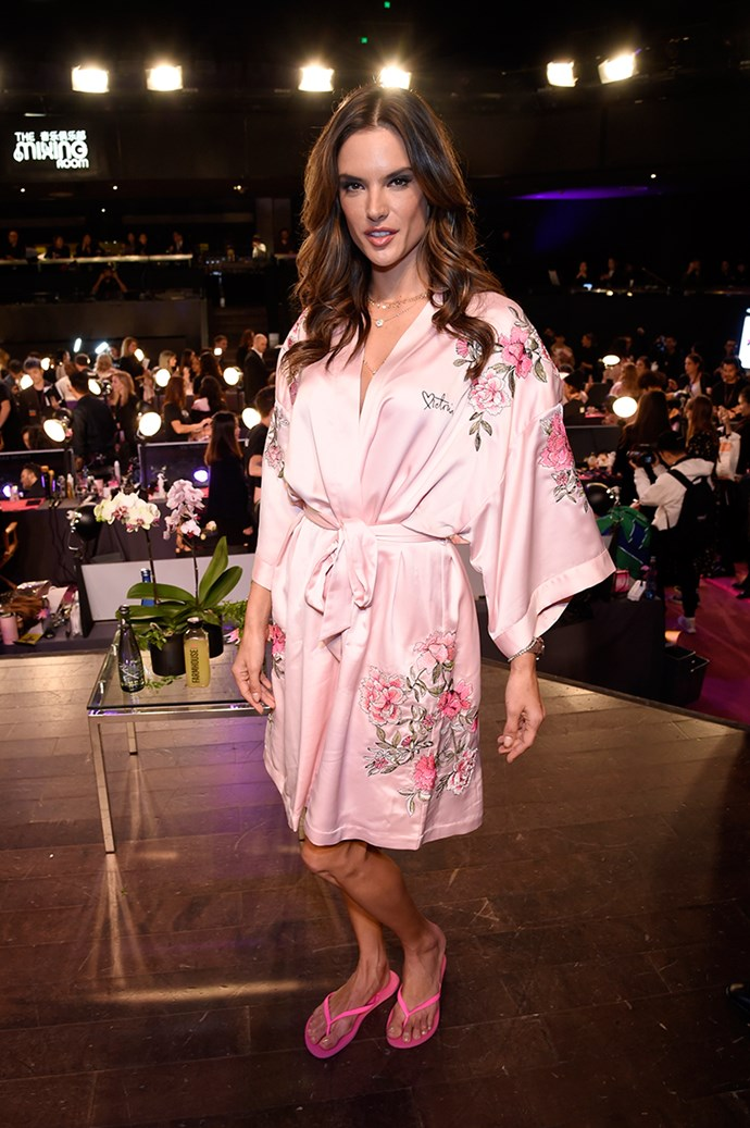 Alessandra Ambrosio backstage at the 2017 Victoria's Secret Fashion Show.
