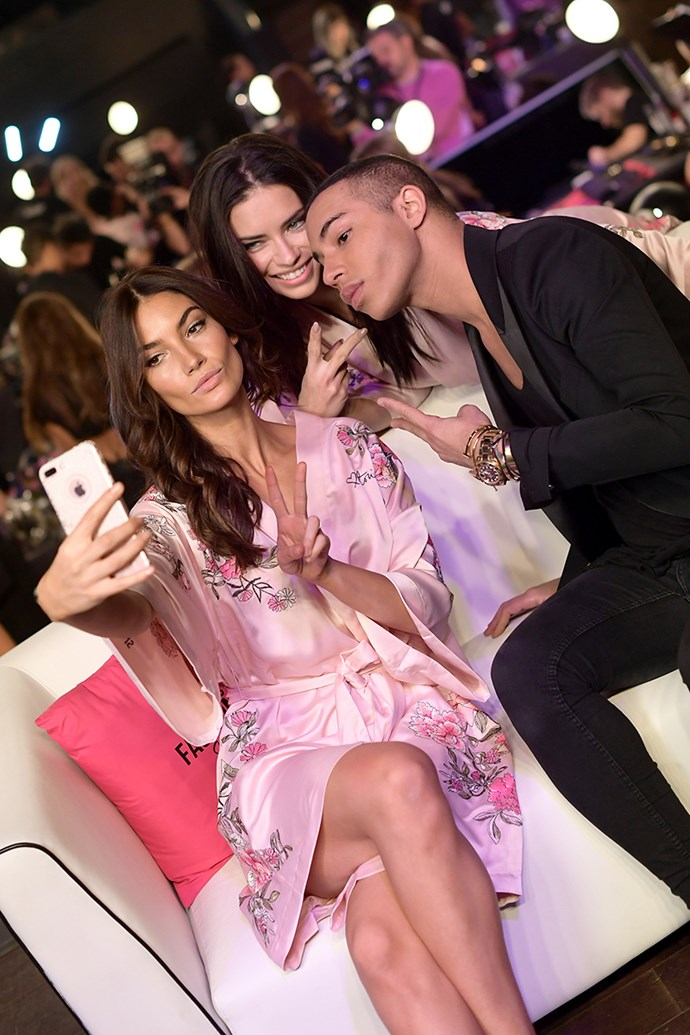 Lily Aldridge, Adriana Lima and Olivier Rousteing backstage at the 2017 Victoria's Secret Fashion Show.