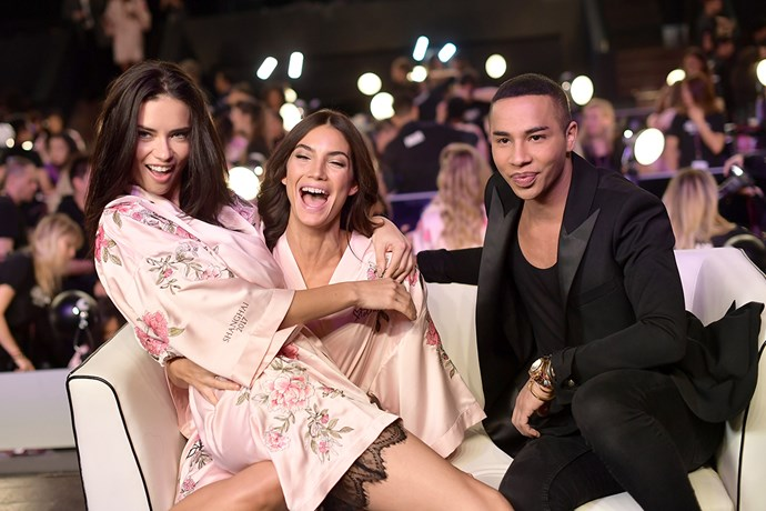 Adriana Lima, Lily Aldridge and Olivier Rousteing backstage at the 2017 Victoria's Secret Fashion Show.