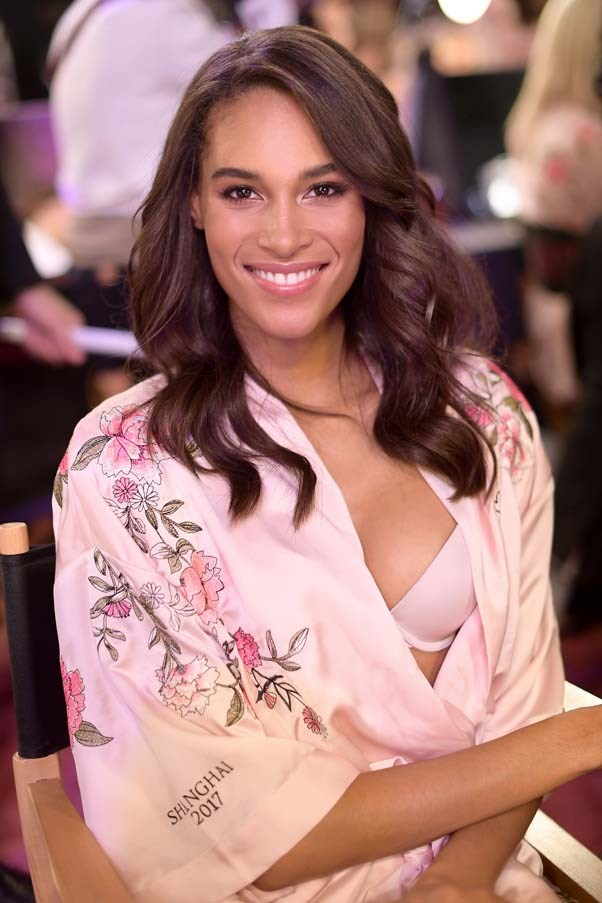 Cindy Bruna backstage at the 2017 Victoria's Secret Fashion Show.