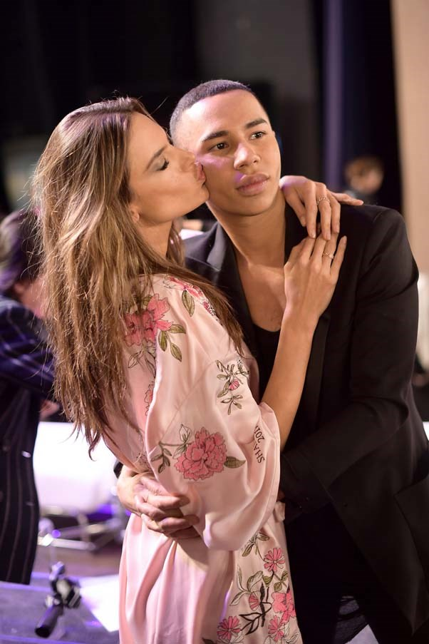 Alessandra Ambrosio and Olivier Rousteing backstage at the 2017 Victoria's Secret Fashion Show.