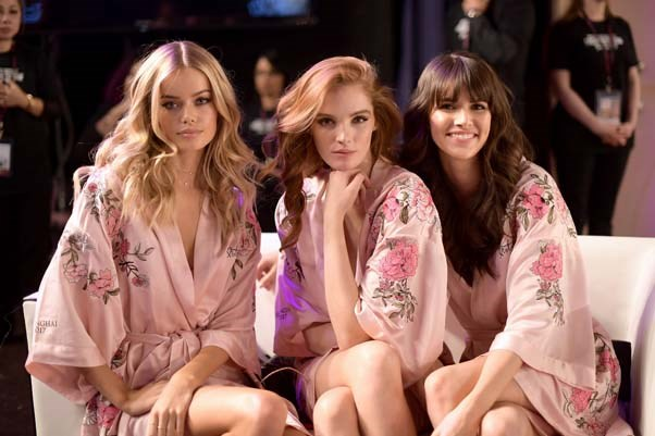 Frida Aasen, Alexinia Graham and Bianca Padila backstage at the 2017 Victoria's Secret Fashion Show.