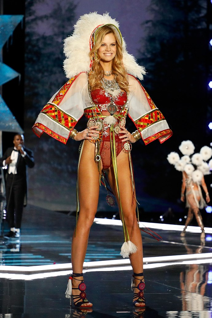 **2017: Nadine Leopold**   VS newcomer Nadine Leopold walked in the show's 'Nomadic Adventure' segment donning a headdress inspired by Native American  culture, complete with 'tribal' motifs. The move is particularly surprising since VS apologised for sending Karlie Kloss in a very similar look back in 2012 before removing it from the television broadcast.