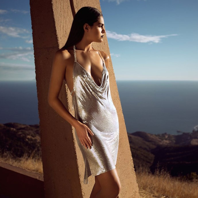 """Chainmail Halter Dress, Kendall + Kylie, approx. [$520]( https://kendall-kylie.com/collections/dropfour/products/dropfour-chainmail-halter-dress?variant=277533720590 Target=""""_blank"""")."""
