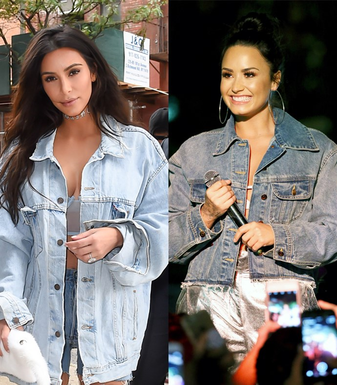 And wearing an oversized denim jacket with very little underneath is practically Kim's off-duty uniform.