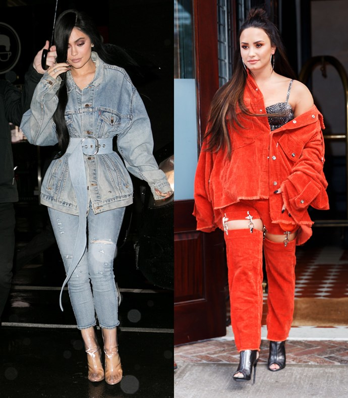 How about oversized double denim co-ords with heels and long AF extensions? Oh hey Ky, didn't see you there.