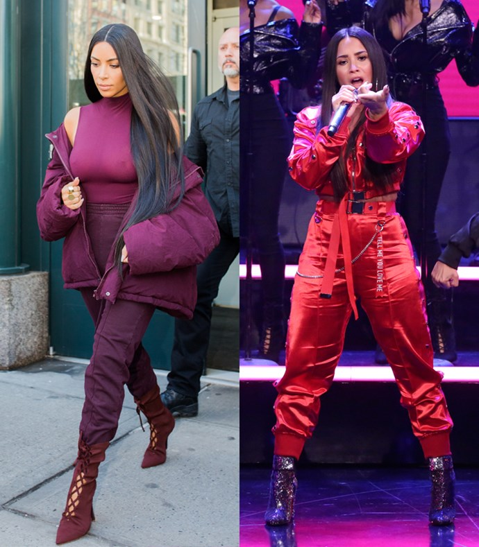Here she is performing in red on red on red on red trackies, a look that's bold, brave and oh-so-Kim.