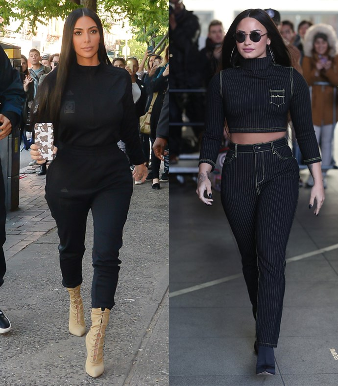Running errands around town wearing fitted black tracksuit co-ords? Demi, we see what you're doing.