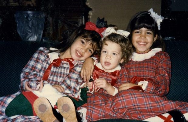 The first semi-official Kardashian Christmas card featured Kourtney, Kim and Khloé wearing fetching tartan smock dresses and big old bows in their hair.