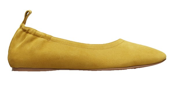 """Shoes, $165 at [Everlane](https://www.everlane.com/products/womens-day-flat-citronsuede?collection=womens-shoes target=""""_blank"""" rel=""""nofollow"""")"""