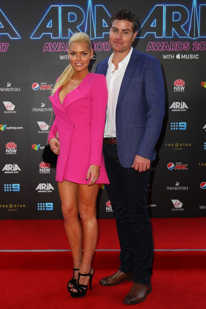 Sophie Monk and Stu Laundy at the 2017 ARIA Awards.