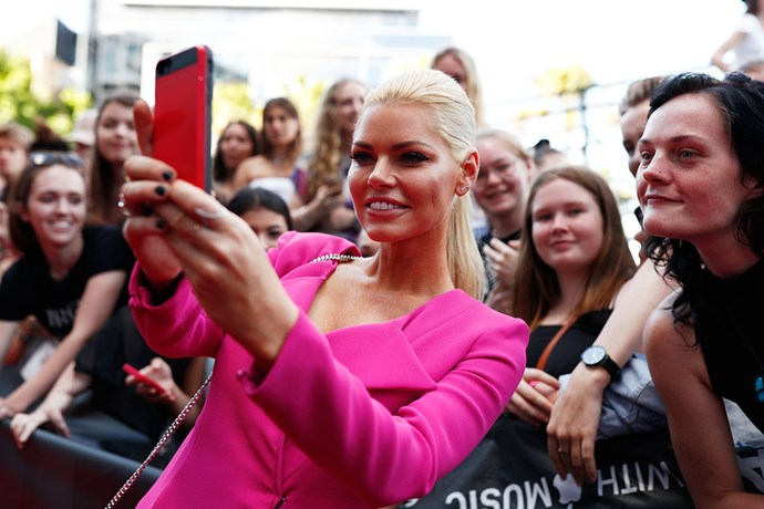 Sophie Monk taking selfies with fans at the 2017 ARIA Awards.