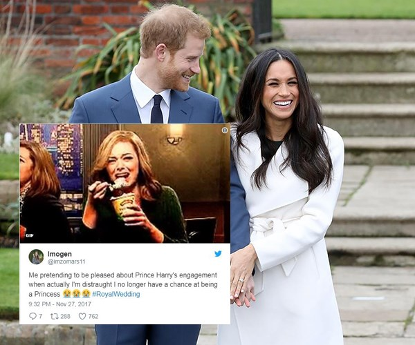 twitter reactions prince harry meghan markle engagement