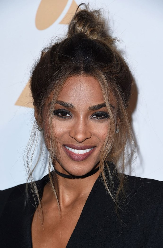 **Ciara's chic undone topknot** <br><br> Ciara proved you can look sexy AF with a 2 second hairstyle. Yup, by whipping her hair up into a topknot and pulling out some loose strands to frame her face, the singer's style scores a 10/10 from us.