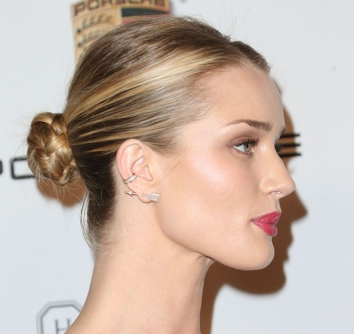 **Rosie Huntington-Whitely's plaited bun** <br><br> The best way to upgrade an understanded bun is by plaiting the hair before you twist it around into a knit. The finish? A sleek, pretty updo.