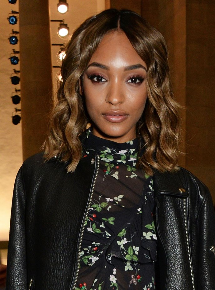 **Jourdan Dunn's ribbon curls** <br><br> Jourdan's tumbling ribbon curls are structured and glossy, whilst her blunt cut gives the appearance of volume and thickness. It's a win, win.