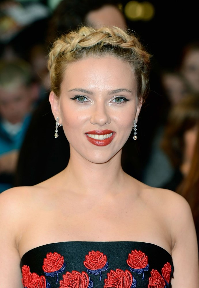 **Scarlett Johansson's halo braid** <br><br> A halo plait like Scarlett Johansson's is a great style if you fancy showing off your shoulders. Cute, no?