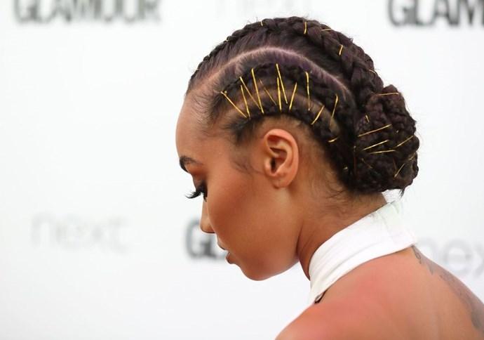 **Leigh-Anne Pinnocks's threaded braids** <br><br> Leigh-Anne took her cornrows up a gear by zig-zagging a dreamy gold thread through the lengths. L.O.V.E.