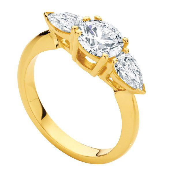 "Phoenix 18ct Yellow Gold Engagement Ring, $2,700 from [Larsen Jewellery](https://www.larsenjewellery.com.au/engagement-rings/three-stone/phoenix-yellow-gold|target=""_blank"")."