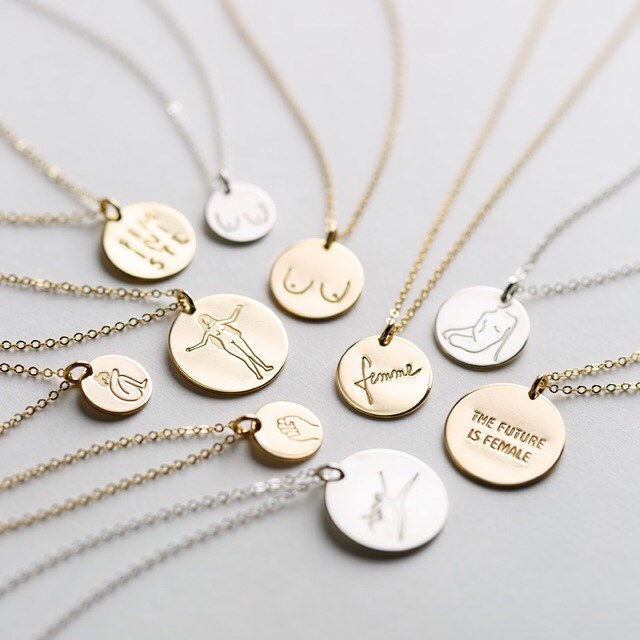 """La Femme Collection, from $43.72 from [Gldn by LayeredAndLong](https://www.etsy.com/au/listing/564220525/boobs-necklace-feminist-jewelry-gold?ref=shop_home_active_79
