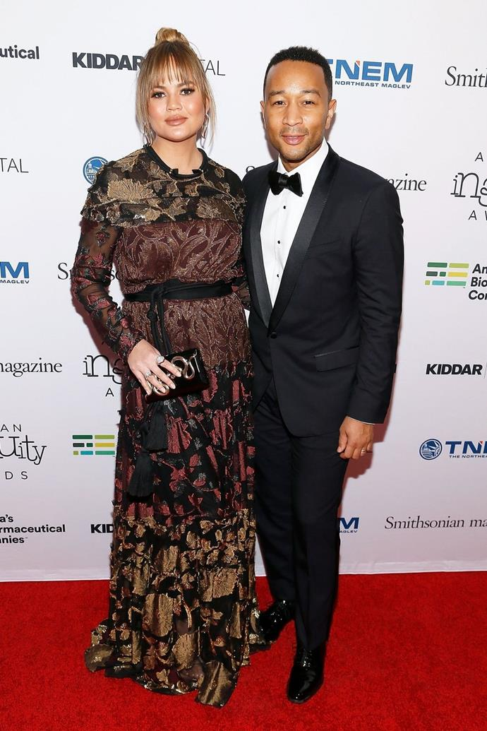 "**Chrissy Teigen and John Legend**  ""We were on our way to Thailand to see my parents, flying commercial first-class. We were under a blanket. We weren't even in one of those pod things. I feel like we should get a trophy for that,"" Chrissy told in 2014."