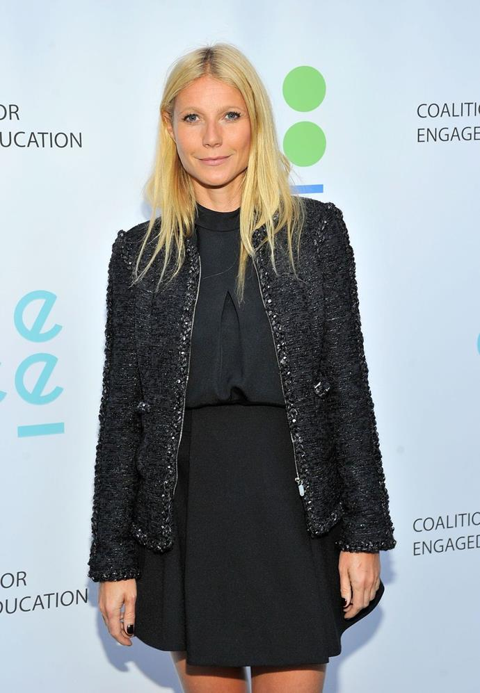 **Gwyneth Paltrow**  According to *Digital Spy* Gwyneth played a game of 'Never Have I Ever' on *The Ellen Degeneres Show* and when asked if she'd joined the club, Gwyneth raised her paddle.