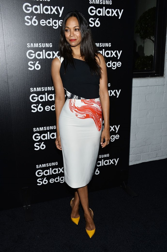 "**Zoe Saldana** <br><br> [*Us Magazine*]( https://www.usmagazine.com/celebrity-news/pictures/mile-high-club-2014206/39074/|target=""_blank"") reported Zoe Saldana had admitted to having plane sex when asked about the craziest place she'd had sex, replying, ""the craziest place — I am a part of the mile high club."""