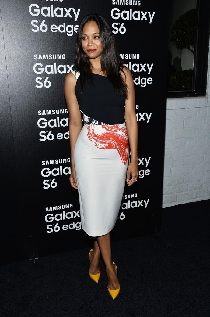 "**Zoe Saldana**  *Us Magazine* reported Zoe Saldana had admitted to having plane sex when asked about the craziest place she'd had sex, replying, ""the craziest place. I am a part of the mile high club."""