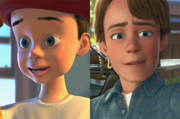 **Andy from *Toy Story*** <br><br> Andy's toys didn't age — but he did! Young Andy was so cute, energetic and wide-eyed. Older Andy still seemed like a really nice guy right before heading off to college. We love that Disney tapped the same actor who voiced Andy as a kid to return for *Toy Story 3*.
