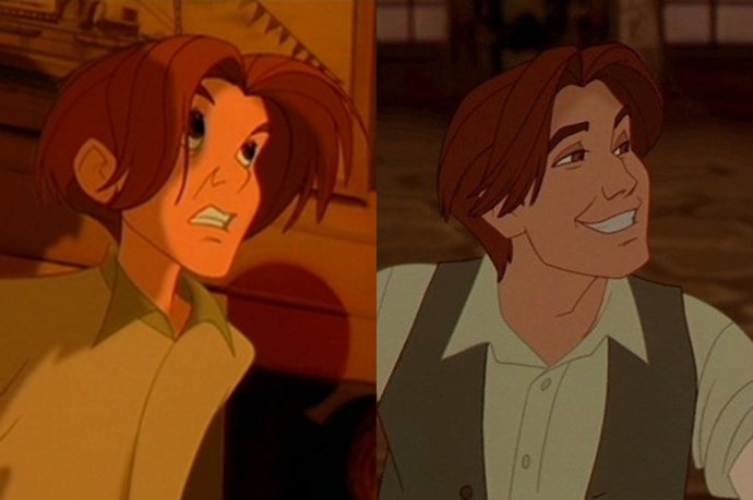 **Dimitri from *Anastasia*** <br><br> Our favourite servant boy-turned-con man definitely glowed up. When he was young, his hair was long and floppy, but he totally grew into it when he blossomed into a handsome man. It also didn't hurt that he was voiced by John Cusack, even though we didn't know who John Cusack was in 1997 (just that he had a dreamy voice).
