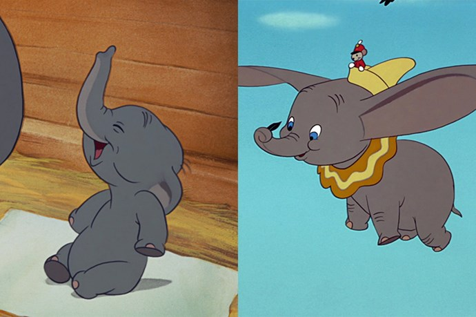 **Dumbo from *Dumbo*** <br><br> Not much changed between baby Dumbo and not-so-baby Dumbo — but he did grow into his ears.