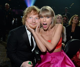 Ed Sheeran and Taylor Swift at 2016 Grammys