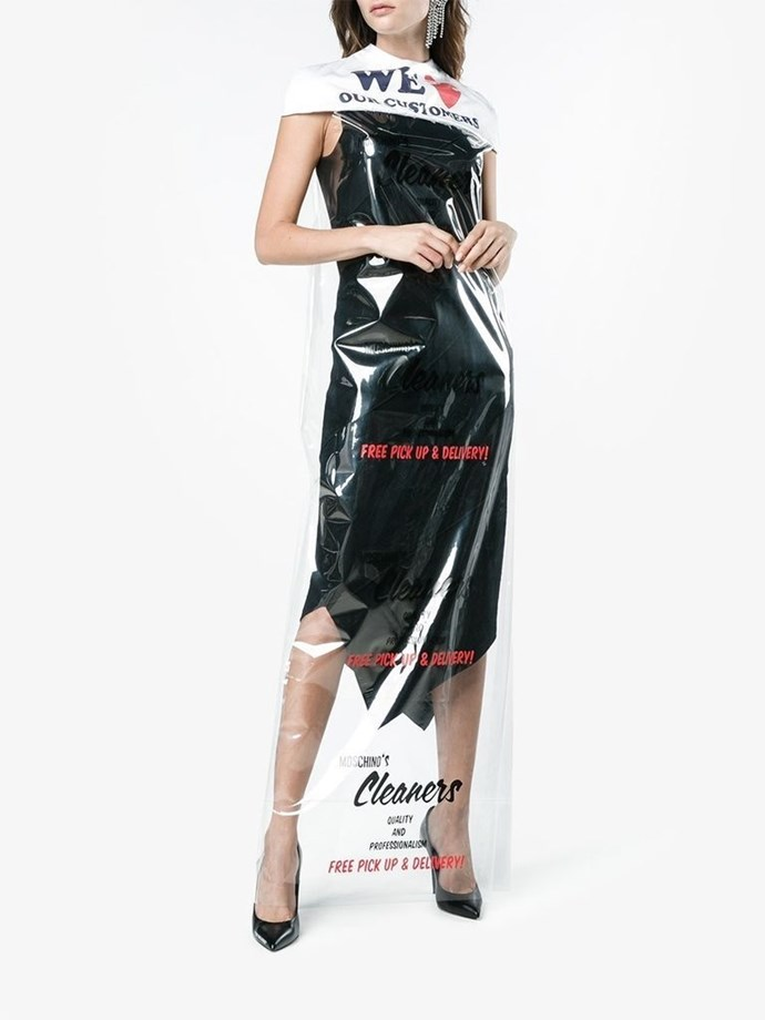"""**Moschino's Dry Cleaning Bag Dress** <br><br> Surprise! Another hit from Moschino. The designer's dry-cleaning bag dress first appeared in its runway show in February and became available for purchase in November. Ironically, the care instructions for the nearly $1,000 plastic garment state: """"Do not wash/Do not dry clean."""""""