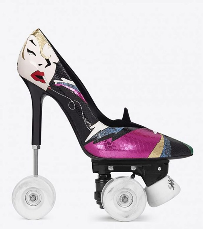 **Saint Laurent's Roller Skate Heels** <br><br> Because high heels aren't already hard enough to walk in, Saint Laurent decided to add WHEELS so you could be the most stylish skater at the roller disco. Designed by creative director Anthony Vaccarello, the shoes debuted in August for around $3,300.