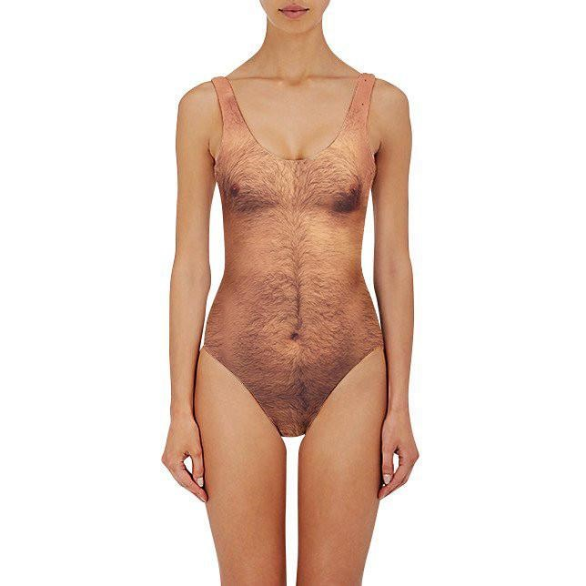 **THE 'SEXY CHEST' SWIMSUIT** <br><br> Yep, that's a full piece swimming costume made to look like a hairy chest. We still don't understand why this was EVER a thing.