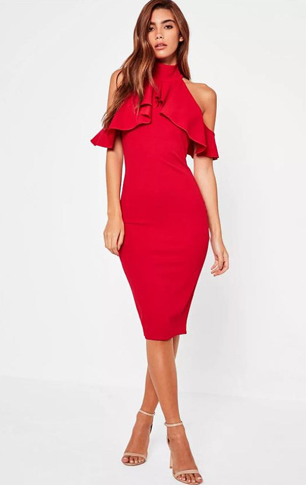 """Dress, $57 at [Missguided](https://www.missguidedau.com/high-neck-frill-cold-shoulder-midi-dress-red