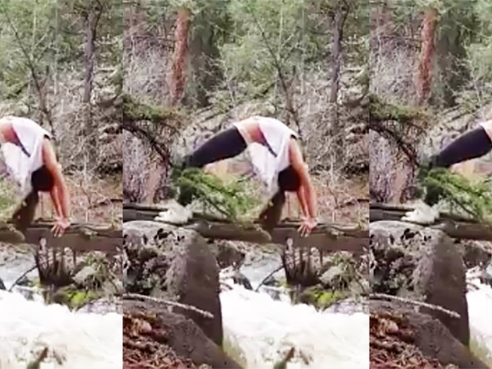 This Woman Attempted Yoga On A Narrow Tree Trunk Above A Raging River, And Guess What Happened Next