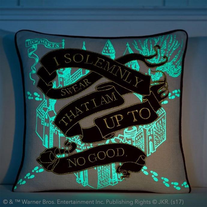 "Harry Potter Marauder's Map Pillow Cover, $49.50 from [PB Teen](https://www.pbteen.com/products/wizarding-world-marauders-map/|Target=""_blank"")."
