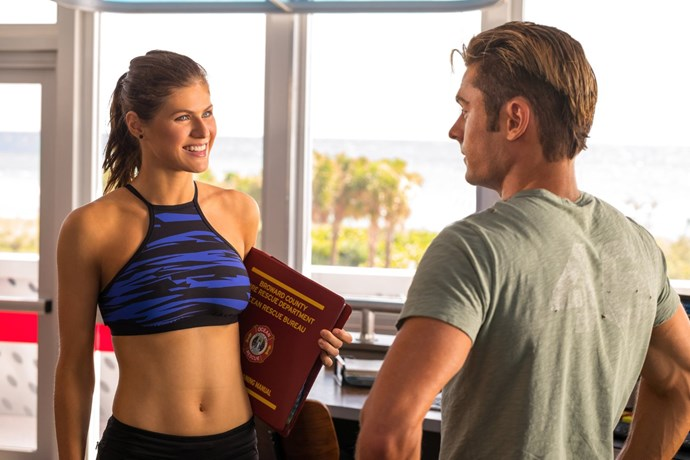 """**Alexandra Daddario** <br><br> Zac and Alexandra had some flirty banter on the *Baywatch* reboot that was released in 2017. When Alexandra was asked about the dating rumours, [she said](http://www.eonline.com/au/news/855518/alexandra-daddario-responds-to-rumors-she-s-dating-baywatch-co-star-zac-efron-at-billboard-music-awards