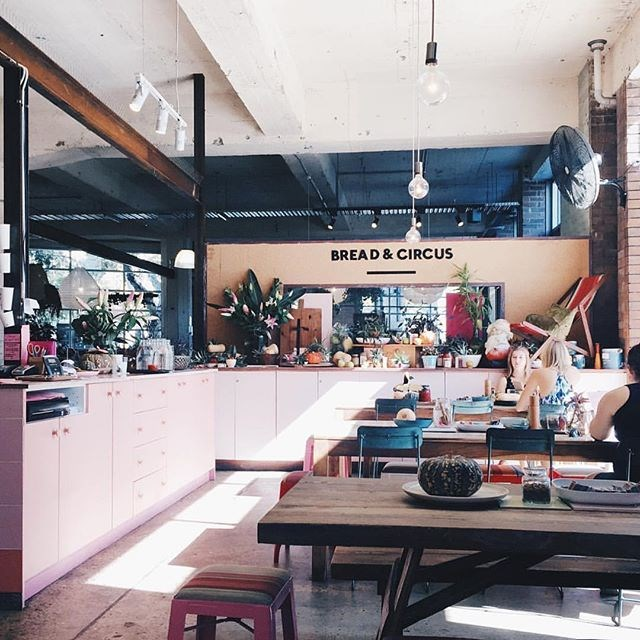 "**Bread & Circus** <br><br> Bread & Circus has become well known for its tasty and healthy dishes for breakfast and lunch. But have you noticed it's always popping up on Instagram because of its pink crockery? The actual café has a really warm, cosy feel, especially when the sun streams in. <br><br> Image: [@evaaah](https://www.instagram.com/p/BE8thLJiI_U/?taken-by=breadcircus|target=""_blank"")"