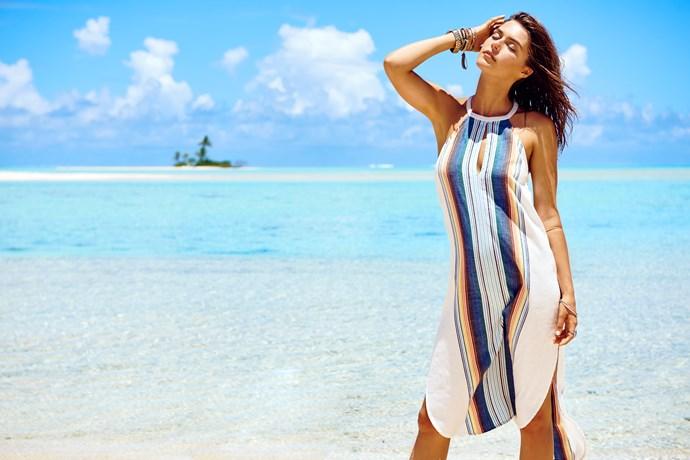 "**SHOP NOW:** [Beach Bazaar Midi Dress](https://www.ripcurl.com.au/womens/clothing/dresses/beach-bazaar-midi-dress.html|target=""_blank""|rel=""nofollow""), $79.99"