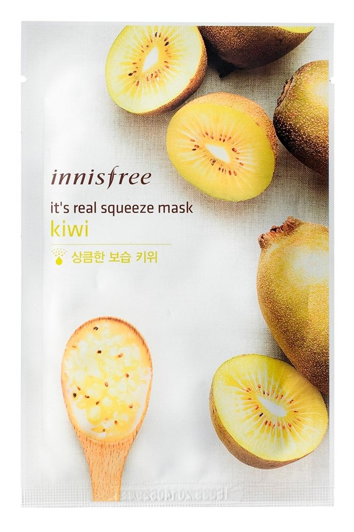 """**3. Innisfree It's Real Squeeze Mask Kiwi** <br><br> """"My favourite mask is Innisfree's It's Real Squeeze Kiwi Mask. It's super cheap and effective. It smells heavenly and hydrates my skin to its maximum potential. My face looks glowy and feels supple to the touch. The next morning is what amazes me the most... it makes my skin look so healthy and radiant, like it has been rejuvenated,"""" says Reddit user, [putchaiko](https://www.reddit.com/user/putchaiko